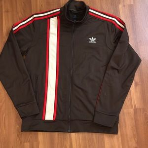 Adidas Mens Track Jacket Brown red stripes size XL